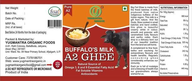 YUGMANTRA ORGANIC 100 % Pure Natural Desi Buffelo Ghee in Glass Bottle Prepared from Vedic A2 Milk Bilona Method-(650 ml x 2) 1300 ml Glass Bottle