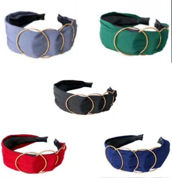alamodey Pack of 5 Embellished Circle Design Girls & Women Knotted Hair Band