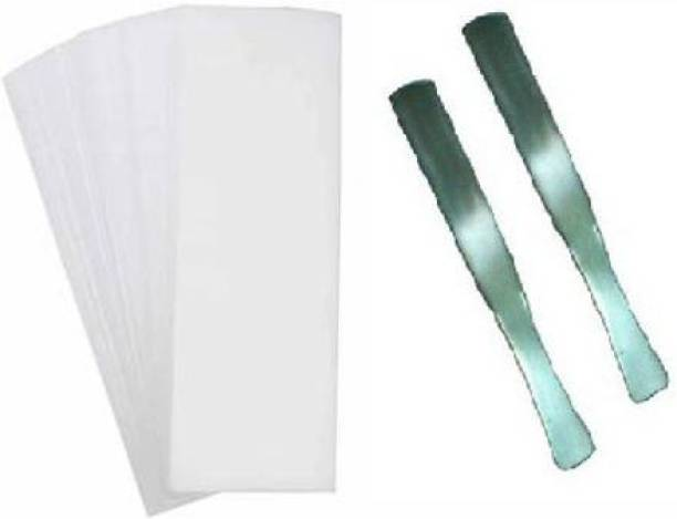 WAIT2SHOP 140 Wax strip with 2 Wax steel spatula knife Beauty Non-woven Waxing Strips for Facial & Body & Leg Epilating for women & men, Paper Wax Strips for Hair Removal Use With steel spatula Strips