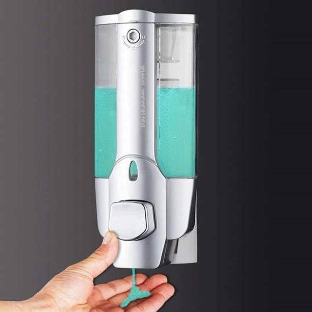 DARSHANAM WORLD Multi Purpose Wall Mounted Liquid Soap/Shampoo/Hand Wash/Lotion/Conditioner/Sanitizer/Gel Dispenser for Home, Office Bathroom & Kitchen Sink(350 ml, ABS, Chrome and Glass Finish) (with Key) 350 ml Liquid, Soap, Foam, Gel, Shampoo, Conditioner, Sanitizer Stand Dispenser