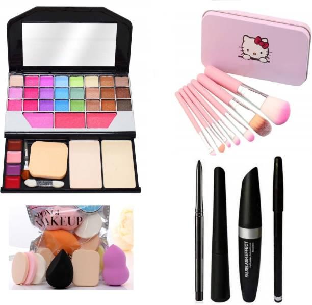 MY TYA Glam Fashion Makeup Kit for Girls + Makeup Brushes + Kelli Makeup Sponges + EyeLiner & Kajal & Mascara & Eye Brow Pencil (4in1)