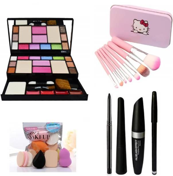 MY TYA Ultimate Fashion Makeup Kit for Girls + Makeup Brushes + Kelli Makeup Sponges + EyeLiner & Kajal & Mascara & Eye Brow Pencil (4in1)