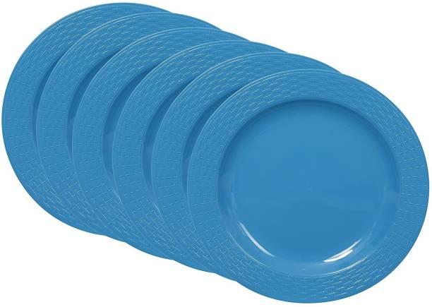 Cutting EDGE Set Of 6   Blue   Round Breakfast Plates, Dinner Side Plates, Microwave/Dishwasher/Freezer Safe, Diameter 20.5 cm Dinner Plate