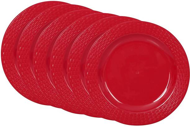Cutting EDGE Set Of 6   Red   Round Breakfast Plates, Dinner Side Plates, Microwave/Dishwasher/Freezer Safe, Diameter 20.5 cm Dinner Plate