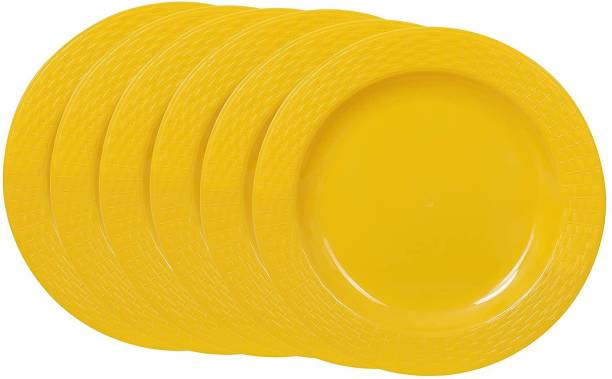 Cutting EDGE Set Of 6   Yellow   Round Breakfast Plates, Dinner Side Plates, Microwave/Dishwasher/Freezer Safe, Diameter 20.5 cm Dinner Plate