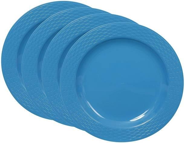 Cutting EDGE Set Of 4   Blue   Round Breakfast Plates, Dinner Side Plates, Microwave/Dishwasher/Freezer Safe, Diameter 20.5 cm Dinner Plate