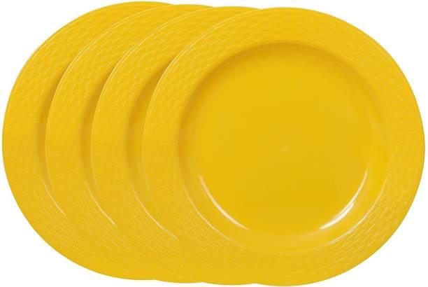 Cutting EDGE Set Of 4   Yellow   Round Full Dinner Plates (Set of 4), Microwave/Dishwasher/Freezer Safe, Diameter 27.3 cm Dinner Plate