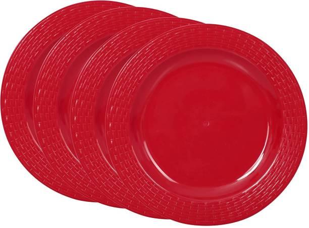 Cutting EDGE Set Of 4   Red   Round Full Dinner Plates (Set of 4), Microwave/Dishwasher/Freezer Safe, Diameter 27.3 cm Dinner Plate