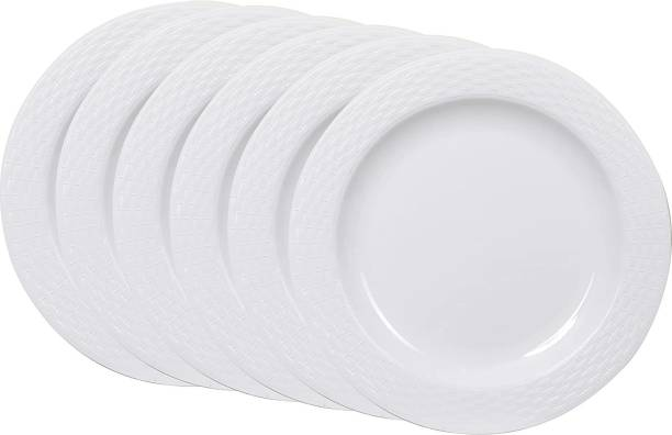 Cutting EDGE Set Of 6   White   Round Breakfast Plates, Dinner Side Plates, Microwave/Dishwasher/Freezer Safe, Diameter 20.5 cm Dinner Plate