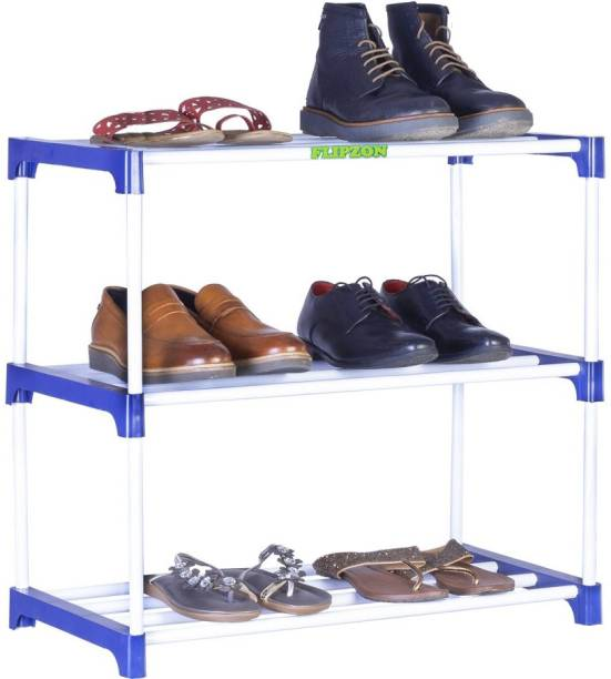 FLIPZON Multipurpose Rack Organizer for Shoe/Clothes/Books - (Need to Be Assemble - DIY) Rust-Proof - Small Metal, Plastic Shoe Stand