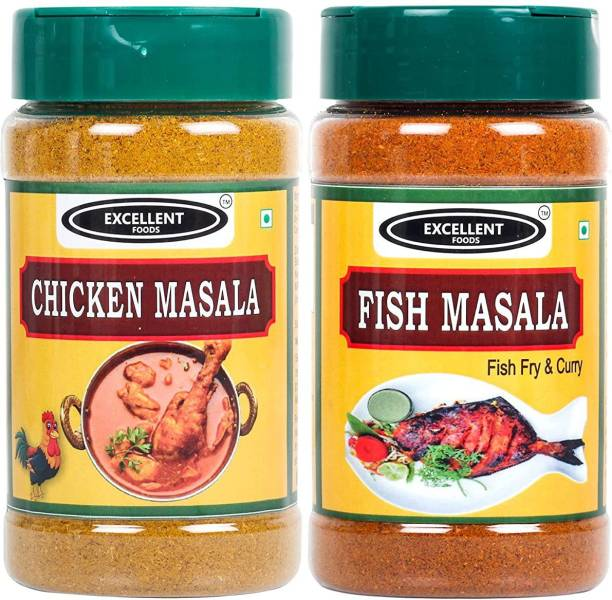 Excellent Foods Combo Of Chicken Masala Powder & Fish Masala Powder 100g x 2 Pack   Fresh & Pure   No Colors Added   Gluten Free   NON-GMO   Perfect Aroma