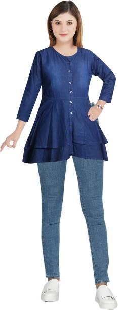 CEFALU Casual Solid Women Blue Top