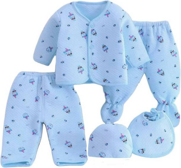 PIKIPOO Presents New Born Baby Winter Wear Keep warm Cartoon Printing Baby Clothes 5Pcs Sets Cotton Baby Boys Girls Unisex Baby Fleece / Falalen Suit Infant Clothes First Gift For New Baby ( Blue 0-4 Months)