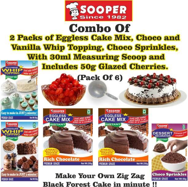 SOOPER CHOCOLATE CAKE MIX 2x250g+ WHIPPING CREAM MIX VANILLA 50g & CHOCO 50g + CHOCO SPRINKLES 50g + GLAZED CHERRIES 50g Topping