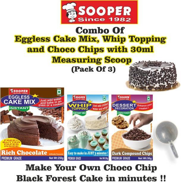 SOOPER CHOCOLATE CAKE MIX 250g + VANILLA WHIPPING CREAM 50g+ CHOCO CHIPS 50g+ SCOOP Topping