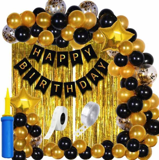 Magic Balloons Printed Happy Birthday Decoration Kit Combo - 61pcs Birthday Banner Golden Foil Curtain Metallic Confetti Balloons With Hand Balloon Pumo And Glue Dot for Boys Girls Wife Adult Husband Mom Dad/Happy Birthday Decorations Items Balloon