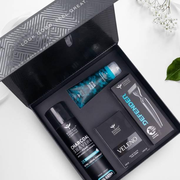 BOMBAY SHAVING COMPANY Shave & Dazzle Kit for Men | Rakhi Gift For Brother | Post-shave Balm, Charcoal Shaving Foam, Velena Perfume