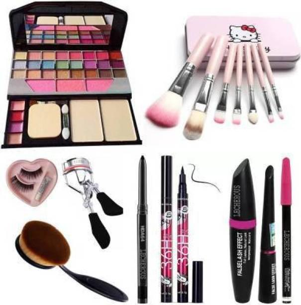 YADUL's 7pcs Makeup Brush set with TYA makeup kit, Eyelashes with glue, Eyelashes curler, foundation brush, Kajal, Waterproof Sketch eyeliner and 3in1 Combo set