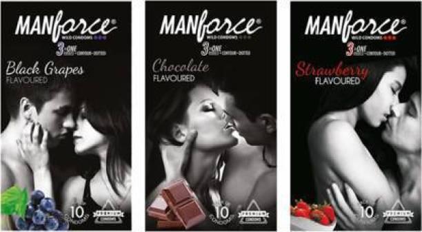 MANFORCE Condoms Combo Pack (Strawberry, Chocolate & Black Grapes) Condom (Set of 3, 30S) Condom