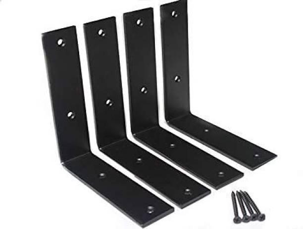 "DILNAZ ART 4PCS L 6"" x H 6"" x W 1.5"", 5mm Thick Heavy Duty Metal Wall Brackets Steel L Bracket for Hanging DIY Storage Decorative Shelving 89 Shelf Bracket"