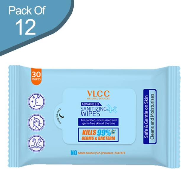 VLCC Advanced Sanitizing Wipes (30 Wipes) - Pack of 12