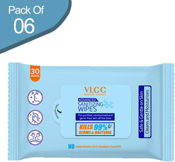 VLCC Advanced Sanitizing Wipes (30 Wipes) - Pack of 6