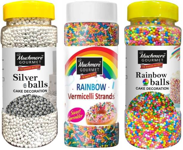 Muchmore Bakery Decorative Vermicellie Rainbow Strands (175g) Silver balls (200g) and Rainbow Sugar Balls ( 175g ) for cake decoration | Cake Decorative for bakery | Dragees Sprinkles colored Sugar Confectionery Combo Pack of 3 Multi Colored Balls & Strands | Rainbow Sprinkler |Premium Quality Easy store and use pack Dragees