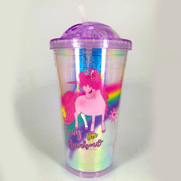 Elegant Lifestyle Unicorn Water Bottle Mason Jar Tumbler with Straw for Kids Glitter Sipper 600 ml Sipper