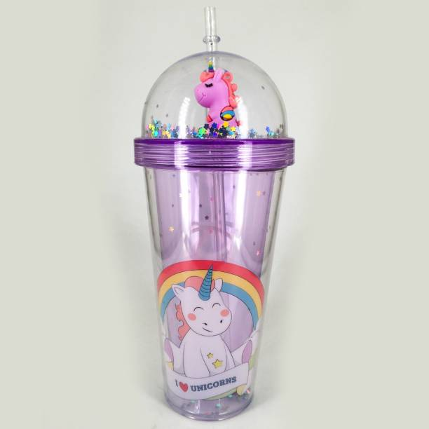 Elegant Lifestyle Unicorn Water Bottle Mason Jar Tumbler with Straw for Kids 600 ml Sipper
