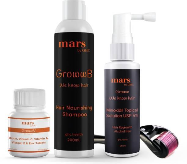 mars by GHC Complete Beard Care Pack | Beard Growth Serum [60ml] + Beard Wash Shampoo [200ml] + Biotin Vitamin [60tab] + Beard Activator (Derma Roller) | Thick & Frizz-Free Beard Growth (Set of 4)