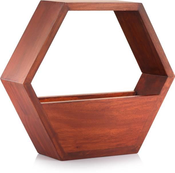 Nemora Red Wooden Table Plant Decor