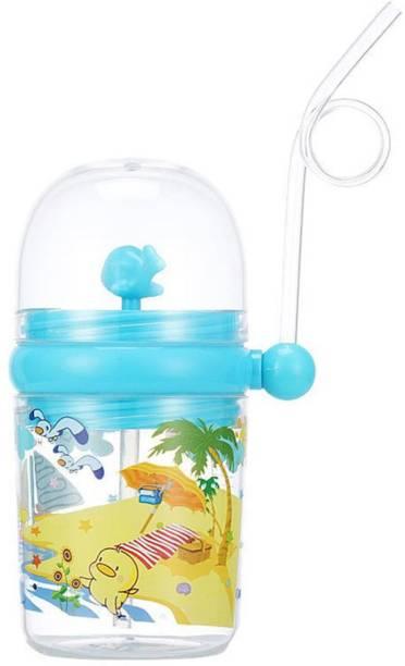 Ajauni 250 ML Cartoon Spray Kids Feeding Cup Drink Water Bottle (Blue)  - Food Grade Plastic