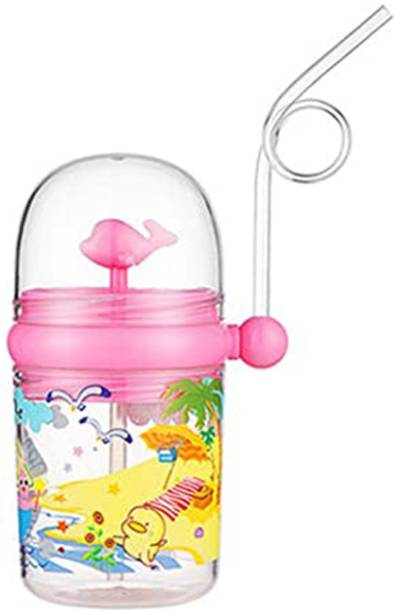 Ajauni 250 ML Cartoon Spray Kids Feeding Cup Drink Water Bottle (Pink)  - Food Grade Plastic