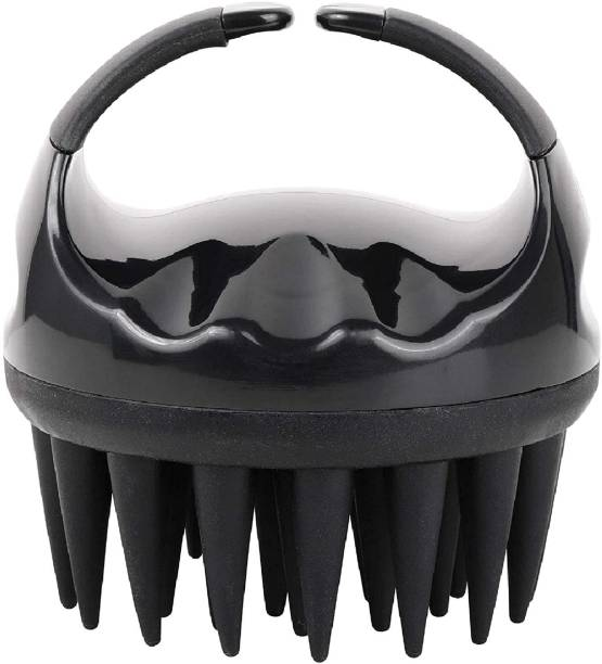 ZUNBELLA Soft Silicone Shampoo Scalp Hair Washing Exfoliating Massager Brush Comb for Men Women Massage Scalp and Get Rid of Dandruff (BLACK)