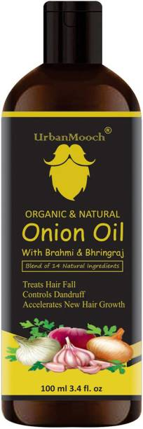 UrbanMooch New & Improved Organic & Natural With Red Onion Extract Onion Herbal Hair Oil for Hair Growth, Hair Fall Treatment, Anti-Dandruff & Prevents Hair From Graying For Men & Women 100ml Hair Oil