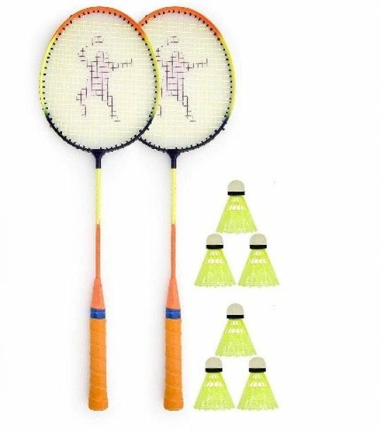 Ostrich Single Shaft Wide Body Badminton Racket Pack Of 2 Piece With 6 Piece Plastic Shuttle Badminton Kit