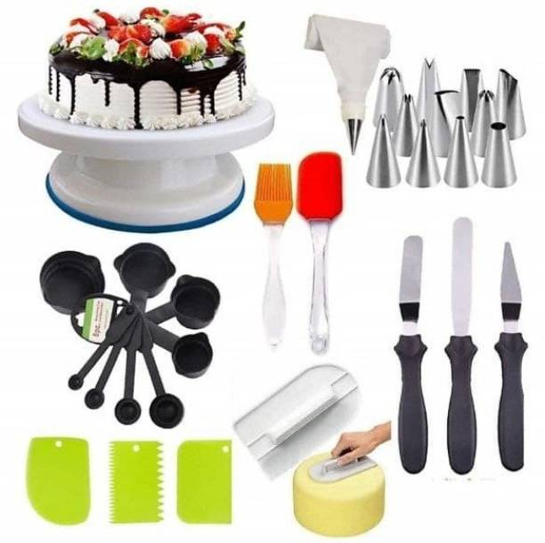 Tesla exim Cake Tools Round Easy Rotate Turntable + 8-Pc Black Measuring Cups + Silicone Spatula and Brush Set + 4 Pcs Set Scraper + 12 Piece Cake Decorating Set + Acrylic Handle Knife and Server Set , Unique Kitchen Tool Set