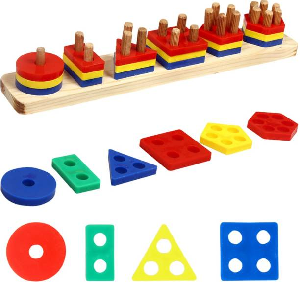 TechHark Wooden+Plastic Early Educational PuzzlesToys,Shape Color Geometric Board Block Stacking Sorting Preschool Stacking Blocks,Shape Matching Toys,Birthday Gifts for Boys,Girls and kids Blocks