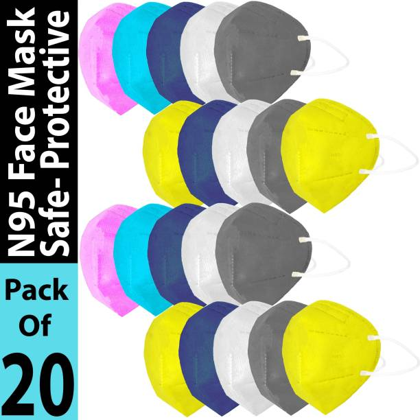 LeSafe Combo Pack Of 20 Pis N95 Mask Made From 70% Melt-Blown, 30% Non Woven Of 5 Layers With 95% Filtration, inbuilt And Adjustable Nose Pin, Soft And Comfortable Ear Loop With High Premium Quality For Men And Women. N95 Washable Mask Washable, Reusable