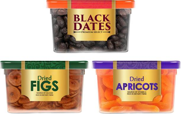 Manna Mixed Dry Fruits Combo Pack 780g (Black Dates 400g | Figs 180g | Apricots 200g) Premium Black Khajoor, Anjeer and Apricots Combo Pack Dates, Figs, Apricots