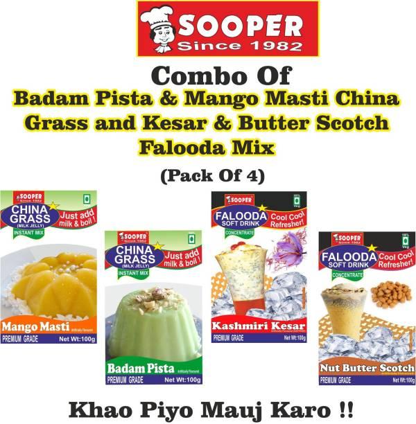 SOOPER BADAM PISTA & MANGO CHINA GRASS + KESAR & BUTTER SCOTCH FALOODA MIX COMBO 400 g