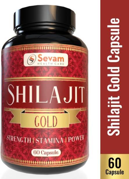 Sevam Healthcare Shilajit Gold Capsules 100% Ayurvedic Real Shilajit for Power Stamina, Strength,Vigour and Health , Vitality , Muscle Building , & Boost Energy for Men & Women (60 Capsules)