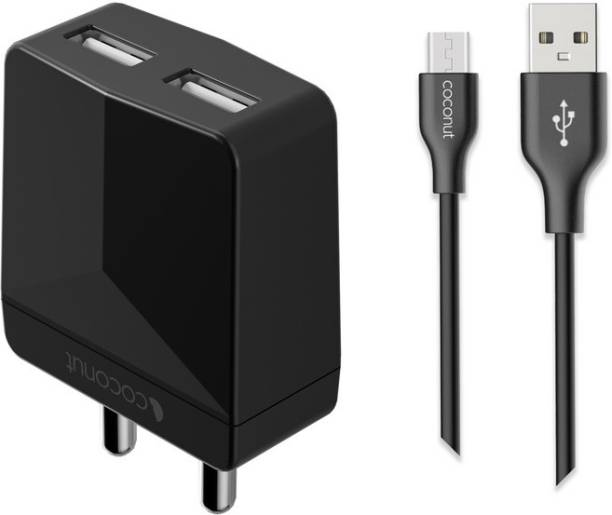 Coconut Swift Dual 10.5 W 2.1 A Multiport Mobile Charger with Detachable Cable