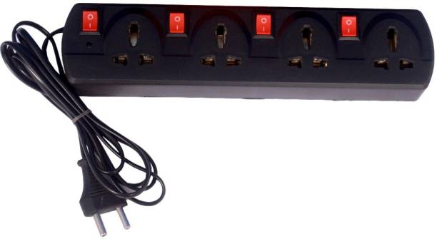 KL-TECH 4+4 Extension Board 4 Socket with 2 meter Long wire 2 pin plug Extension Boards (Black) 6 A Three Pin Socket