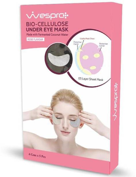 Wespro Bio Cellulose Eye Mask with HYALURONIC ACID – Made with fermented coconut water – Pack of 5 Eye Masks