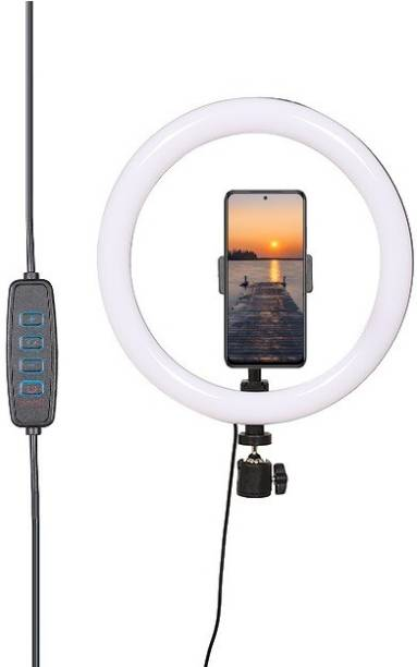 Alchiko Best Premium Quality 10 Inch LED Ring Light Compatible With All Smartphones & Cameras, For Live Streaming, Make up, Video Call, Video Conference 2500 lx Camera LED Light