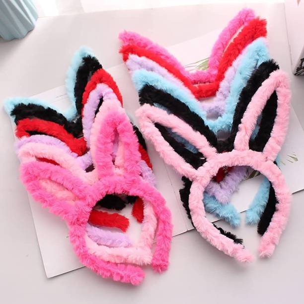 Favela ute faux fur bunny ear hairband for kids girls and women latest fancy headband stylish hair accessories bands Combo (Pack of 3) Hair Tattoo/Sticker