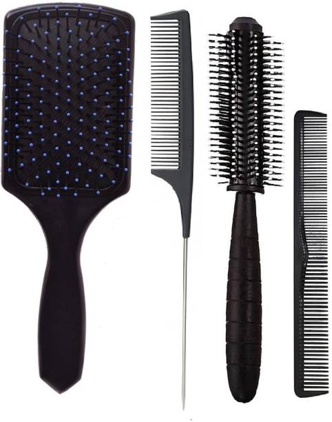 E-DUNIA 4PCS Hair Brush Set Paddle Brush Round Brush Tail Comb for Damaged Hair Massaging Scalp Hair Drying Styling Curling Fine Cutting Comb for Women Men Kids