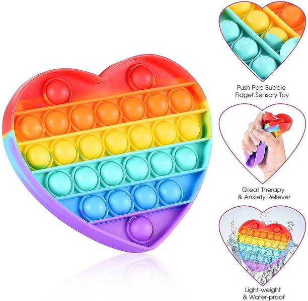 KREDZSTAY Rainbow Heart Bubble Sensory Fidget Toy Push Pop It Fidget Toys Autism Special Needs Stress Reliever Anxiety Relief Silicone Educational Game Toy Gift for Kids Children Adults