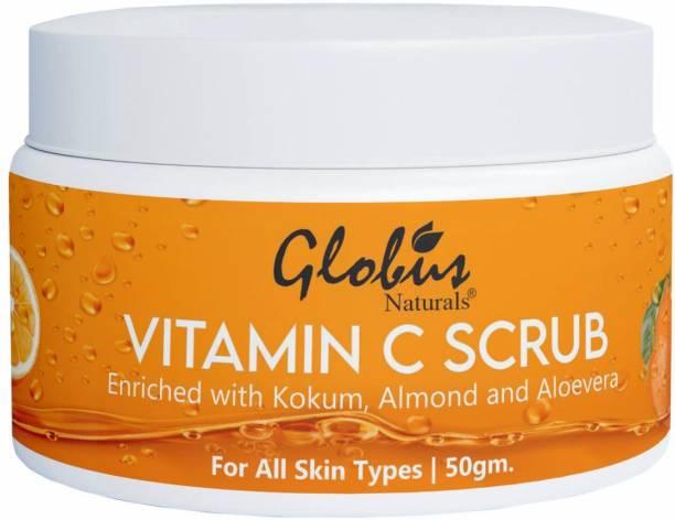 GLOBUS NATURALS Vitamin-C Brightening Scrub Enriched with Pearl Kokum Almond Aloevera Niacinamide Scrub